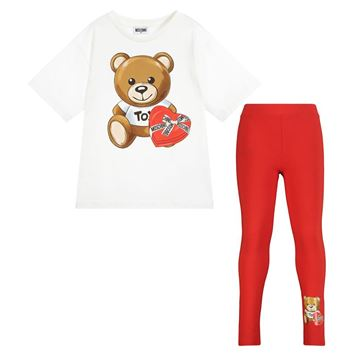 Picture of Moschino Girls Teddy T-Shirt & Red Leggings Set