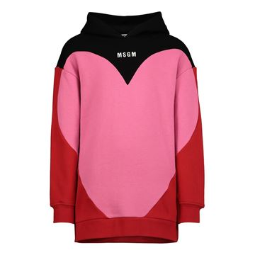 Picture of MSGM Girls Pink Heart Hooded Jumper Dress