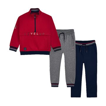 Picture of Mayoral Boys Red & Grey 3 Piece Tracksuit
