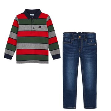 Picture of Mayoral Boys 2 Piece Striped Polo Top & Jeans Set