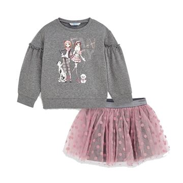 Picture of Mayoral Girls Grey & Pink Skirt Set