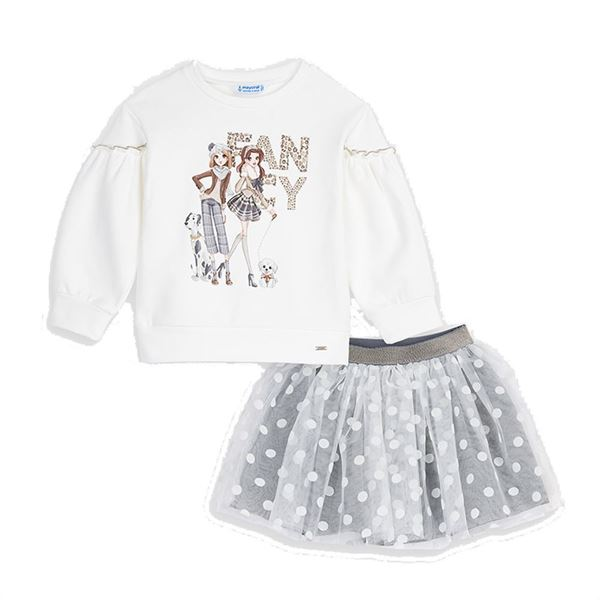 Picture of Mayoral Girls Grey & White Skirt Set