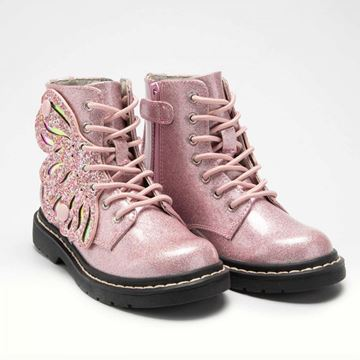 Picture of Lelli Kelly Baby Pink Glitter Patent Wing Boots