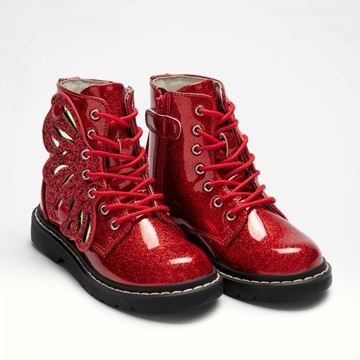 Picture of Lelli Kelly Red Glitter Patent Wing Boots