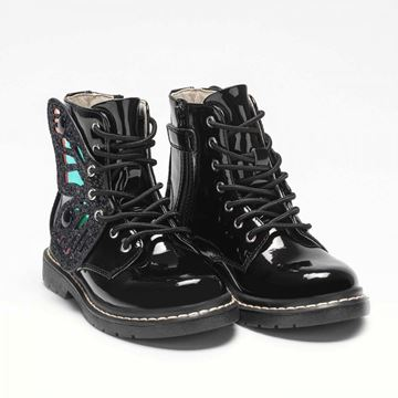 Picture of Lelli Kelly Black Patent Wing Boots