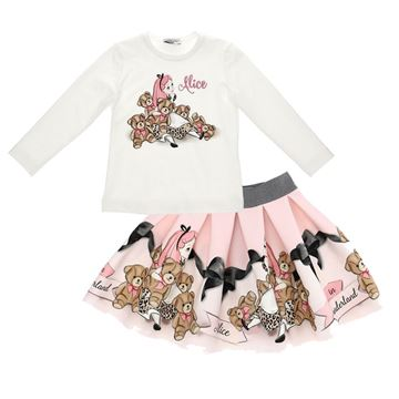 Picture of Monnalisa Girls 'Alice' T-Shirt & Skirt Set