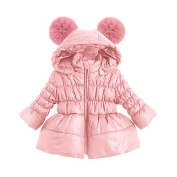 Picture of Bufi Girls Pink Coat with Pink Fur Pom Pom