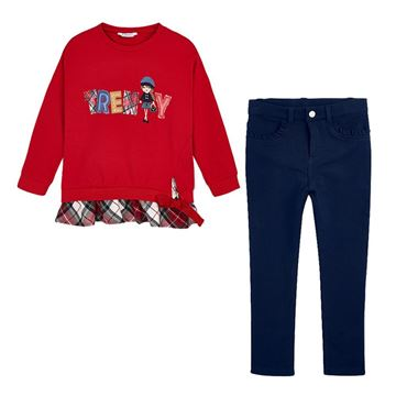 Picture of Mayoral Girls Red & Navy Leggings Set