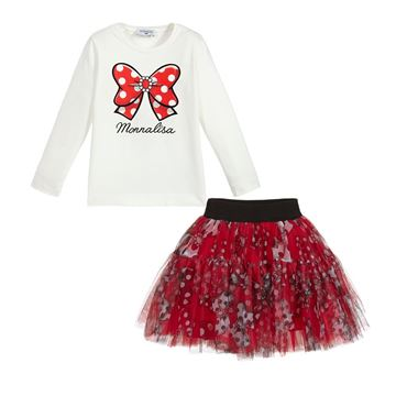 Picture of Monnalisa Girls Red Pokka Dot & Bow Tulle Skirt & Top Set