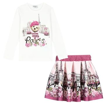 Picture of Monnalisa Girls Pink Paris Top & Skirt Set