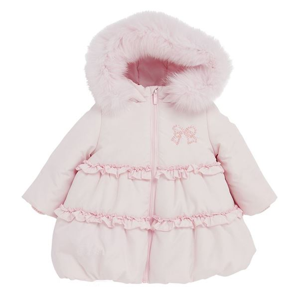 Picture of Bimbalo Girls Pink Coat with Pink Fur Hood Trim
