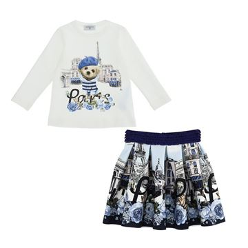 Picture of Monnalisa Girls Blue Paris Top & Skirt Set