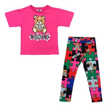 Picture of Moschino Girls Pink 2 Piece Teddy Leggings Set
