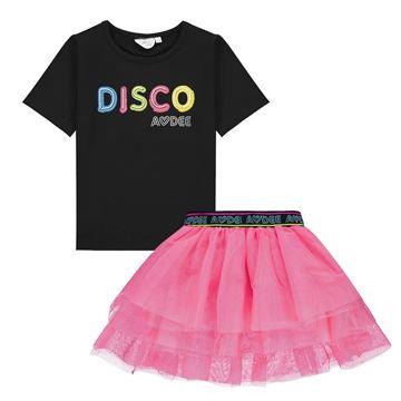 Picture of Ariana Dee Girls Disco Black T -Shirt & Pink Skirt Set