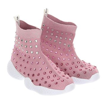 Picture of Monnalisa Girls Baby Pink Sock Trainers