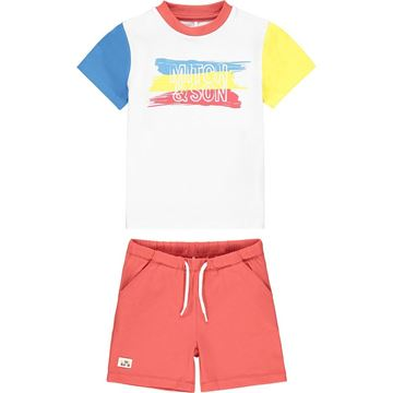 Picture of Mitch & Son 'Cook' Boys Colour Block Jersey Short Set