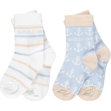 Picture of Mitch & Son 'Bank' Boys Pale Blue Socks Pack of 2