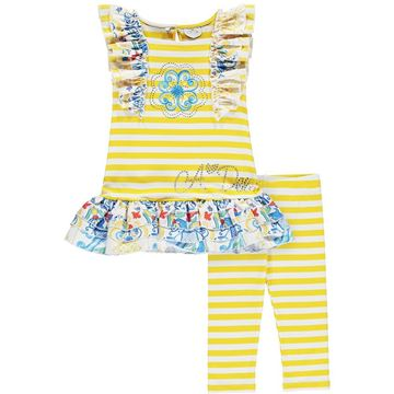 Picture of Ariana Dee Girls 'Lara' Yellow Stripe Stripe Print Leggings Set