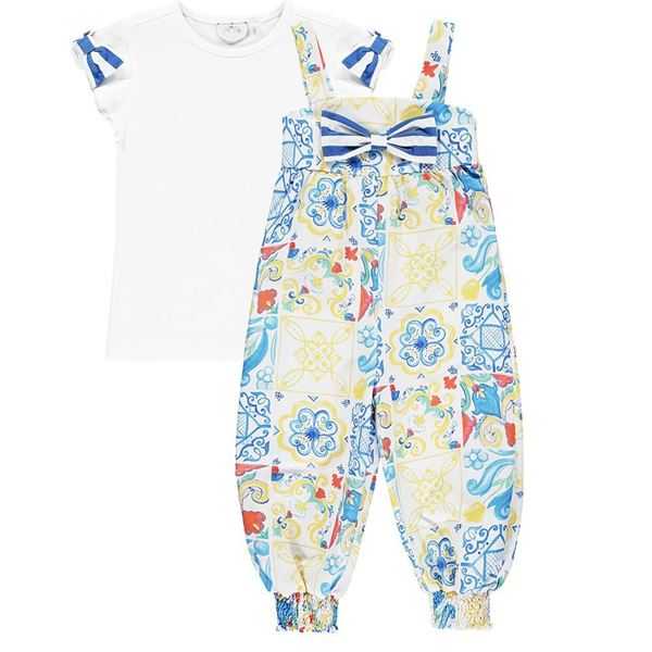 Picture of Ariana Dee Girls 'Louise' Printed Dungaree Set