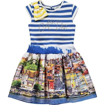 Picture of Ariana Dee Girls 'Leah' Blue Printed Dress