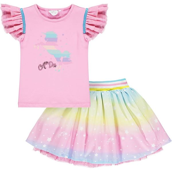 Picture of Ariana Dee Girls 2 Piece Rainbow Pink Top & Skirt Set