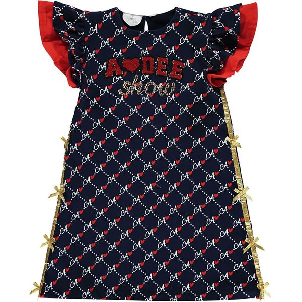 Picture of Ariana Dee Girls 'Meena' Navy Printed Dress