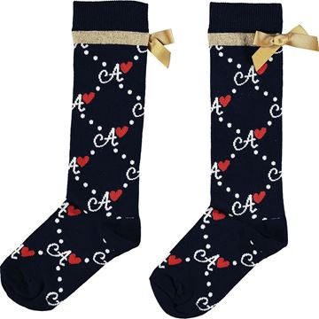 Picture of Ariana Dee Girls 'Madonna' Navy Printed Knee Socks