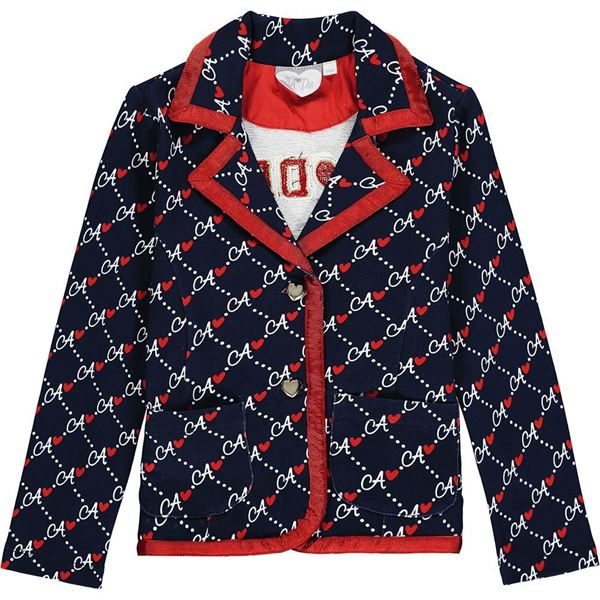 Picture of Ariana Dee Girls 'Maggy' Navy Printed Blazer
