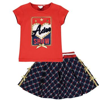 Picture of Ariana Dee Girls Navy & Red 2 Piece Skirt & Top Set