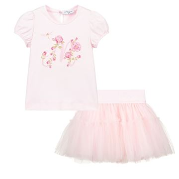 Picture of Monnalisa Baby Girls Pink Top & Skirt Set