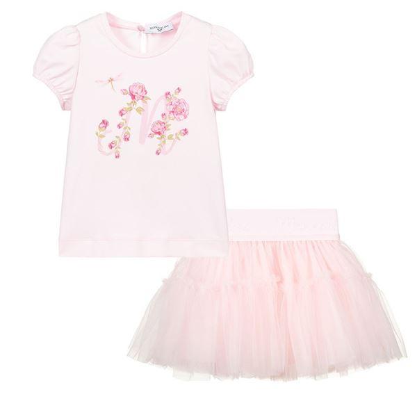 Picture of Monnalisa Baby Girls Pink Top & Skirt Set