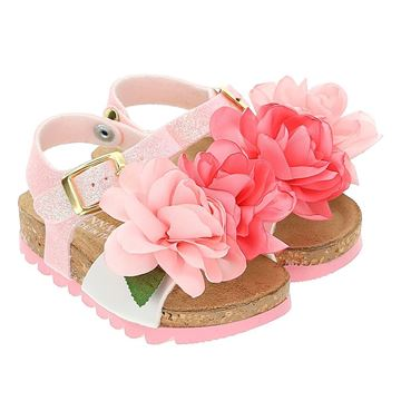 Picture of Monnalisa Baby Girls Pink Rose Sandal