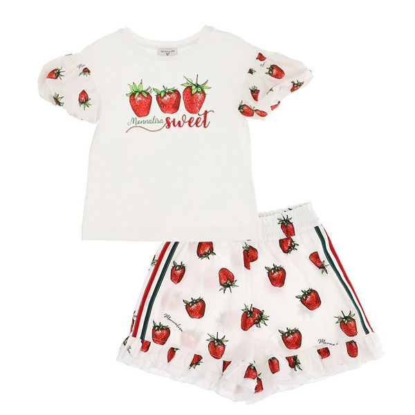 Picture of Monnalisa Girls Strawberry T-Shirt & Shorts Set