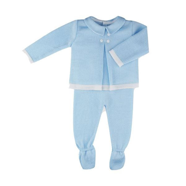 Picture of Sardon Boys Blue Knitted 2 Piece Set Baby Suit