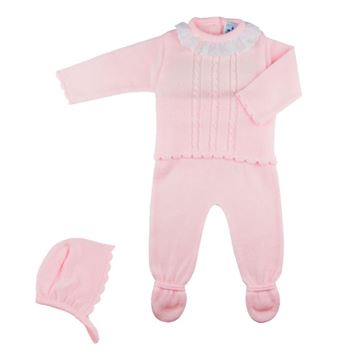 Picture of Sardon Girls Pink Knitted 2 Piece Baby Suit with Bonnet