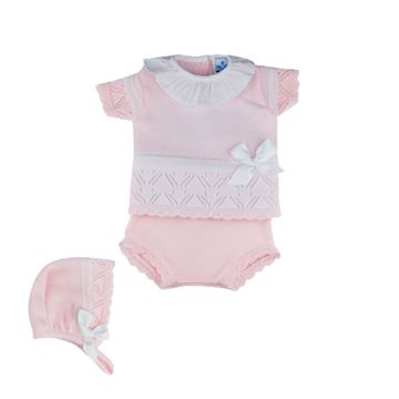 Picture of Sardon Girls Pink Knitted 2 Piece Knicker Set with Bonnet