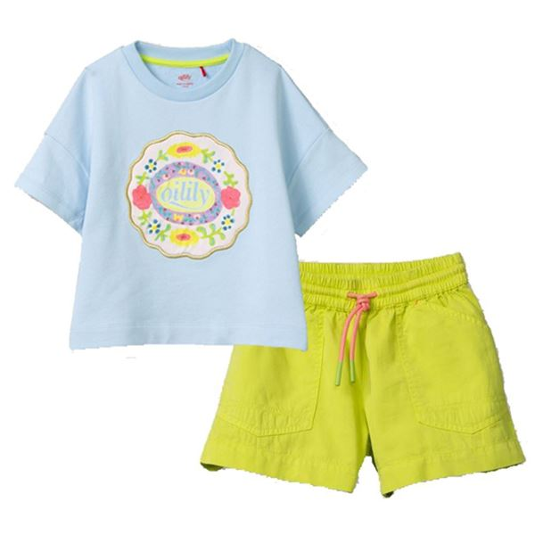 Picture of Oilily Girls Blue Top & Lime Shorts
