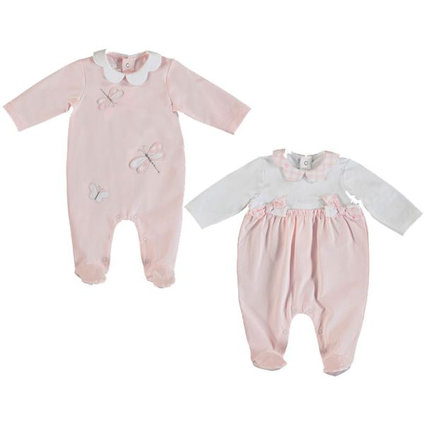 Picture of Mayoral Baby Girls Pink Set of 2 Babygrow