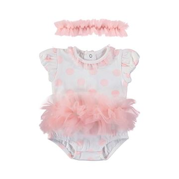 Picture of Mayoral Baby Girls Pink Spotty Romper with Hairband