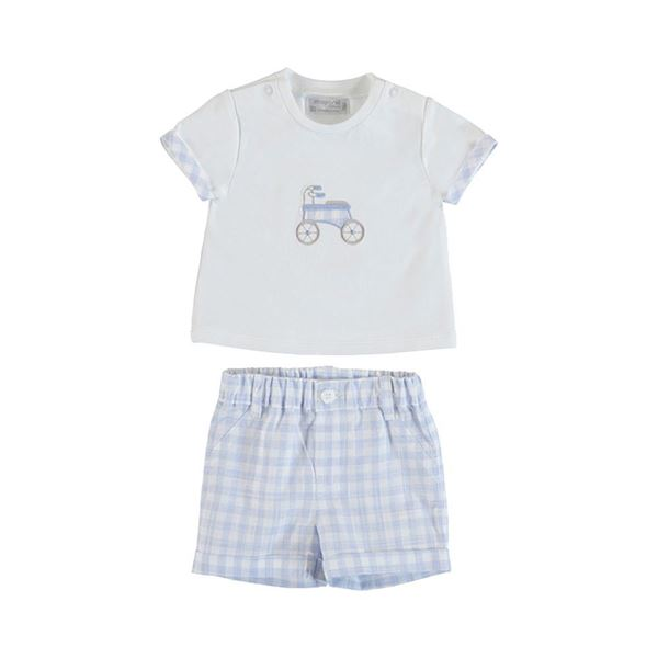 Picture of Mayoral Baby Boy Blue Checked Top & Short Set