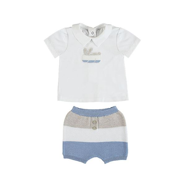 Picture of Mayoral Baby Boy Blue Knitted Stripe Short Set