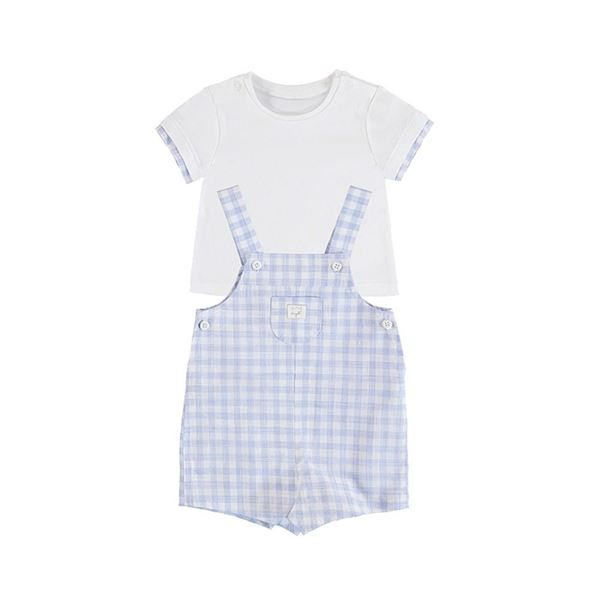 Picture of Mayoral Baby Boy Blue Checked Dungaree Set