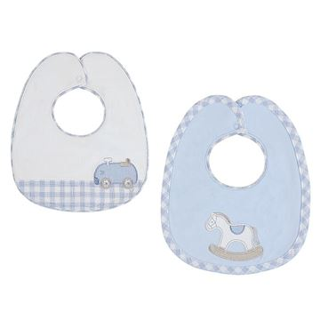 Picture of Mayoral Baby Boy Blue Checked Set of 2 Bibs