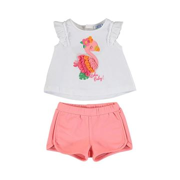 Picture of Mayoral Baby Girl Coral Flamingo Short Set