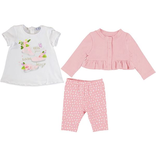 Picture of Mayoral Baby Girl Pink Leggings Set with Cardigan