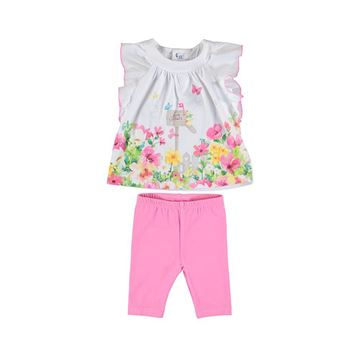 Picture of Mayoral Baby Girl Pink White & Pink Tunic & Leggings