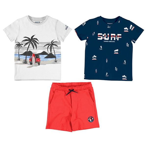Picture of Mayoral Boys 3 Piece Red 'Surf' Short Set