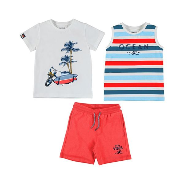 Picture of Mayoral Boys 3 Piece Red 'Ocean' Short Set