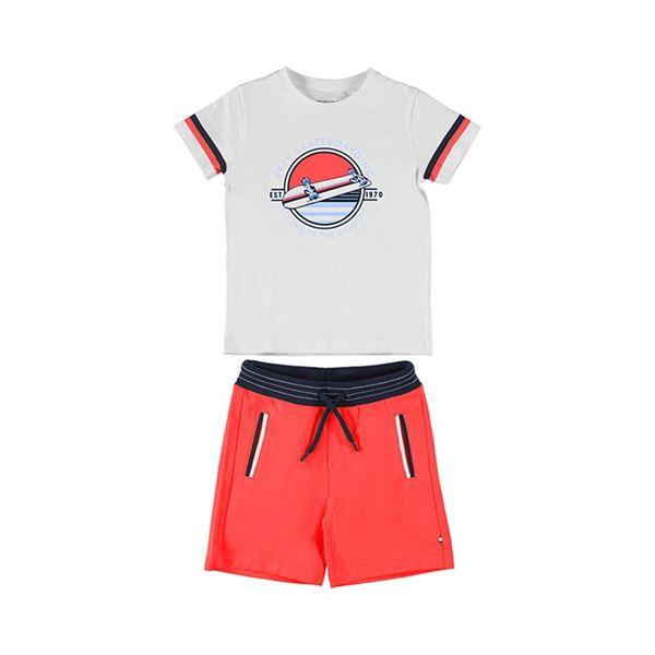 Picture of Mayoral Boys 2 Piece Red 'Skate' Short Set