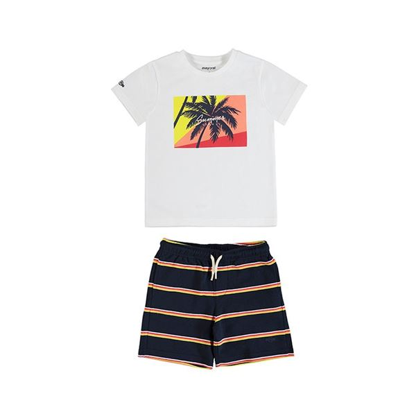 Picture of Mayoral Boys 2 Piece White Palm Tree Short Set
